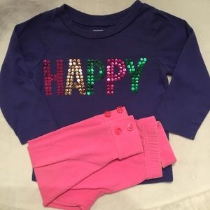 Baby Girls HAPPY Long Sleeve and Leggings Play Set
